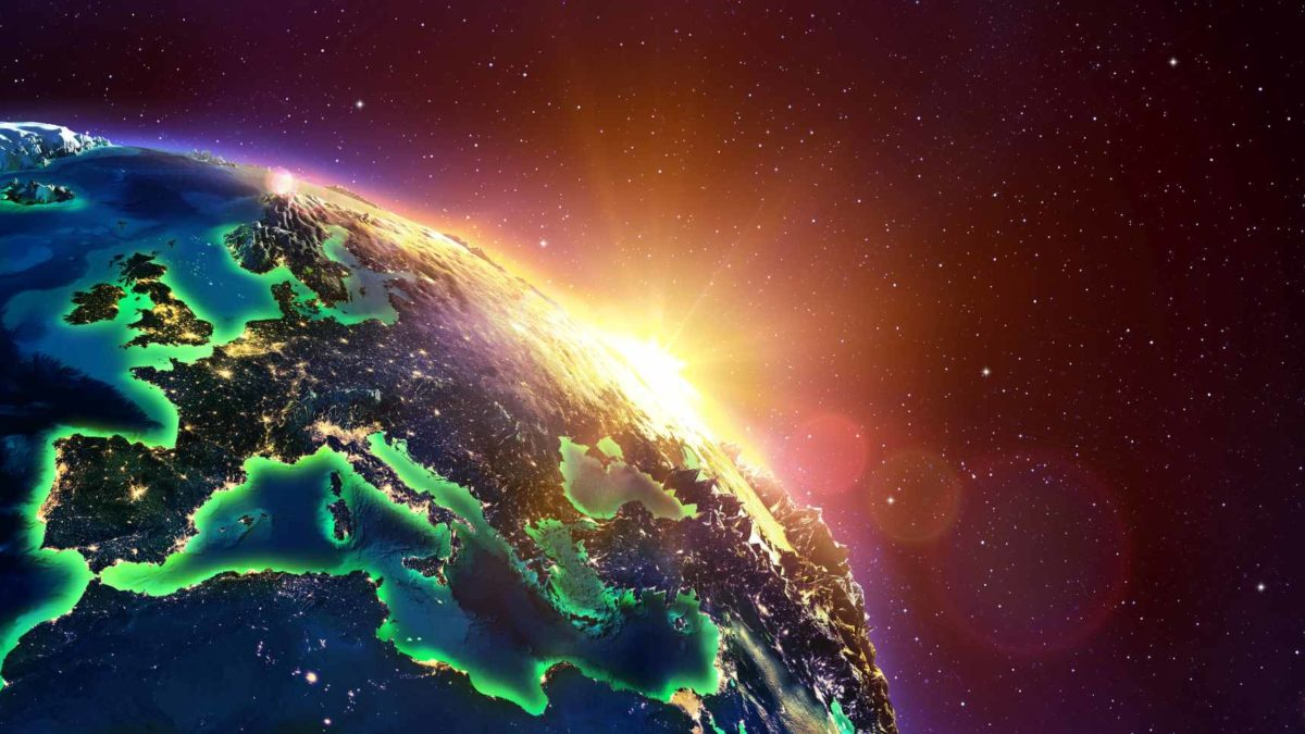 Europe At Golden Sunrise - View From Space