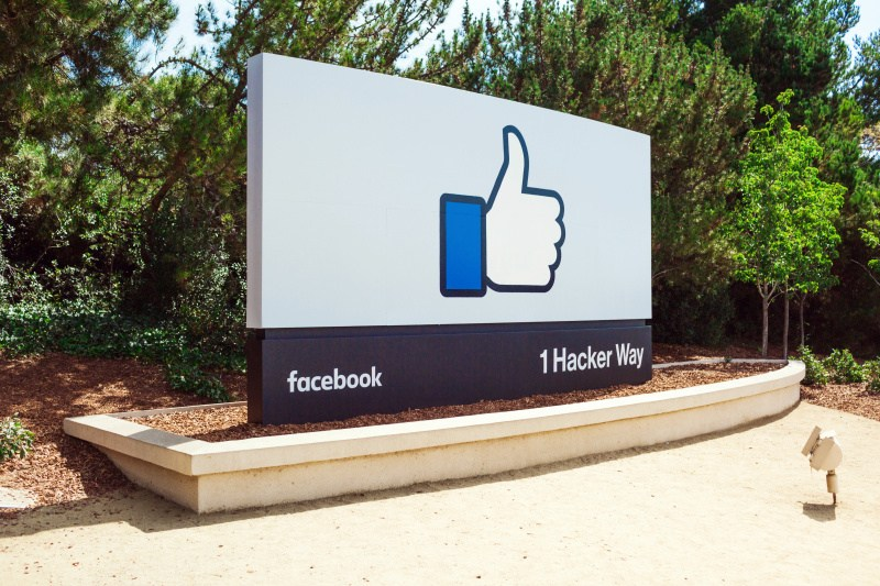 The signature in front of Facebook HQ.